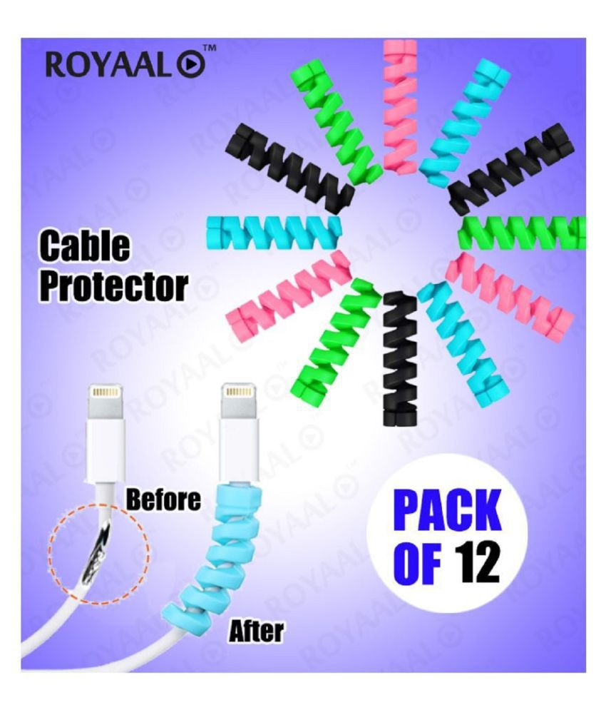 ROYAAL™  Set of 12 Spiral  Cable Protector, Data Cable Saver Charging Cord Protective Cable Cover (12 Pieces)