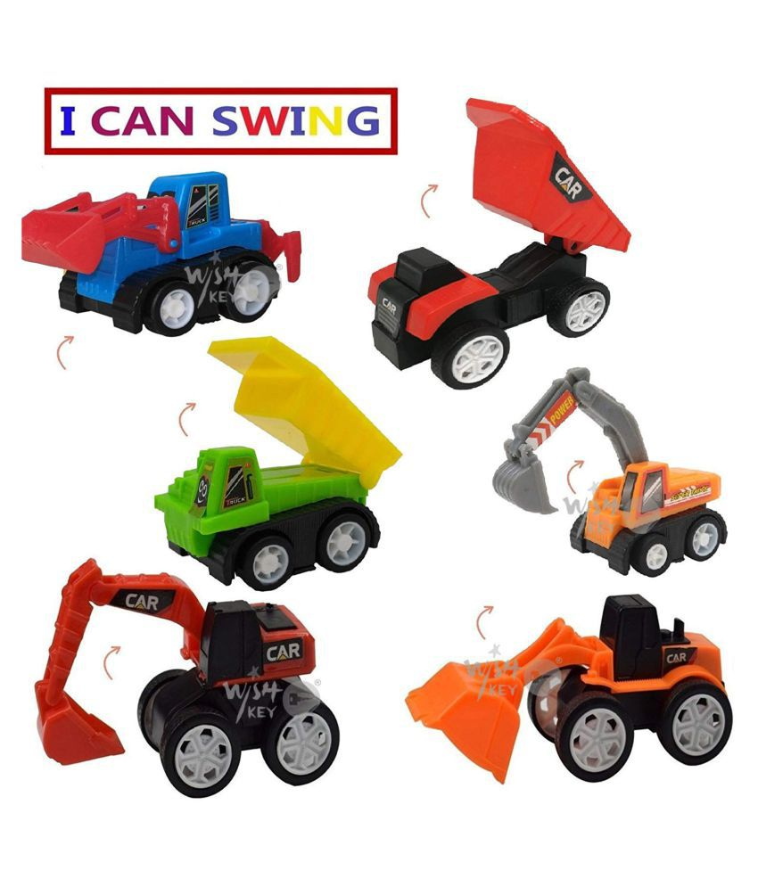 Unbreakable Pullback Cars & Jcb Construction Toy Set -12 Pcs Yellow For Kid's