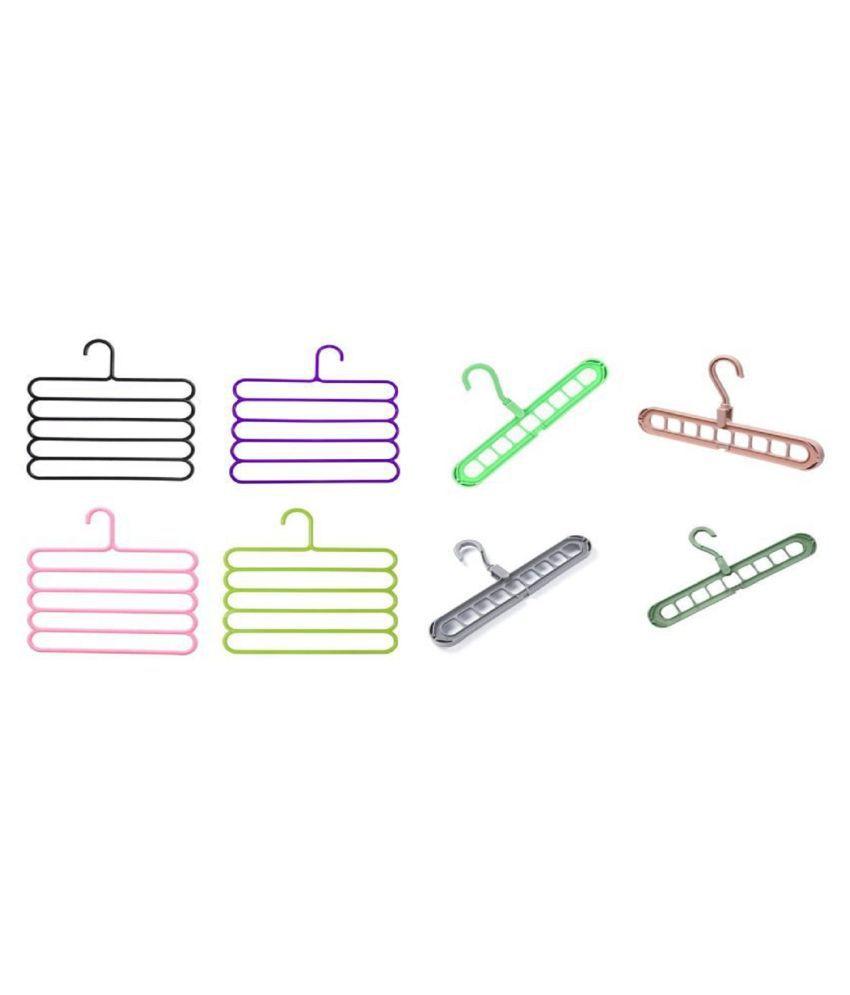 ASQURE Plastic Anti-Slip 9 Hole and 5 Layer Hangers 4n4 Pcs