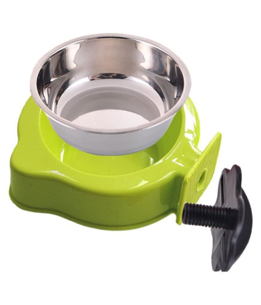 Emily Pets Stainless steel Crate Bowl Removable Water Food Feeder Bowl Cage Coop Cup Dogs Cats Puppy Bird Pets Kennel Cage Bowl
