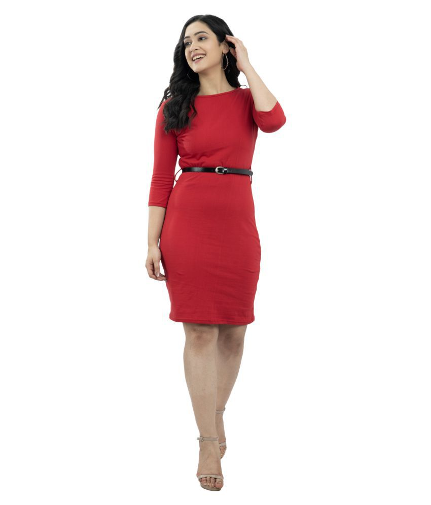 Ruby Creation Crepe Red Bodycon Dress