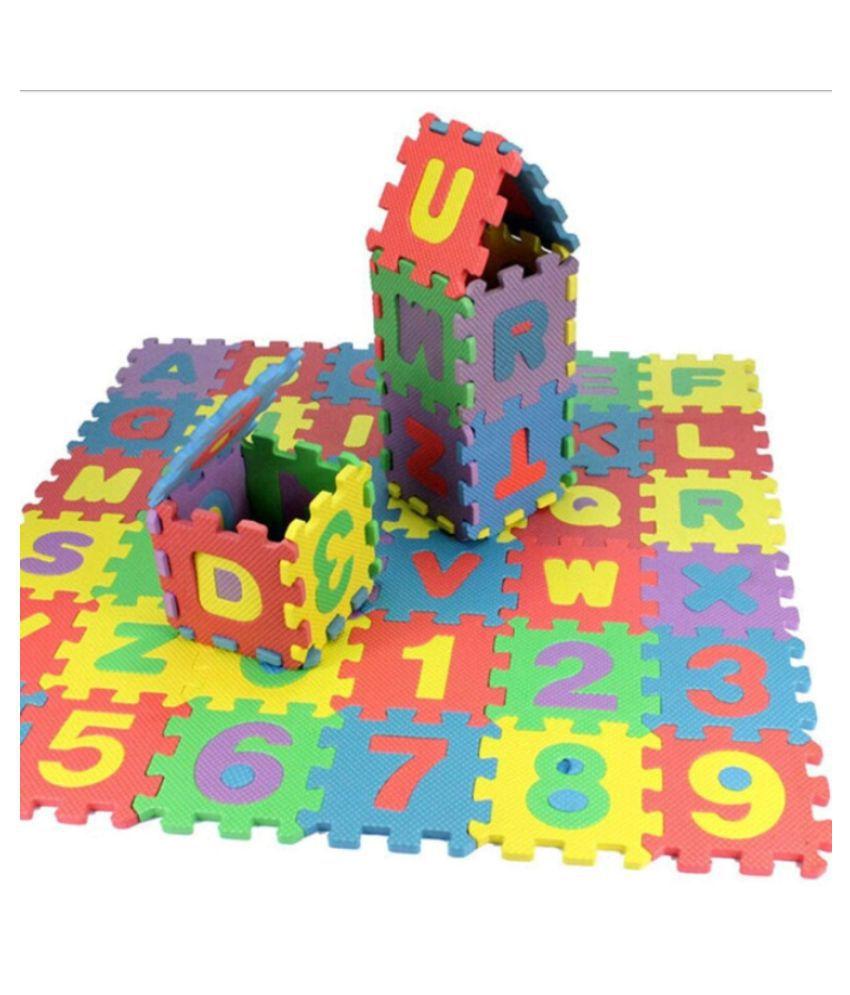 Ahana T 36pcs/Alphabet Letters Numerals Puzzle Colourful Kids Rug Play Mat Soft Floor Crawling Puzzle Kids Educational Toys