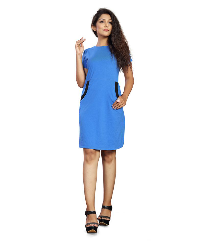 THE VINTAGE GARMENTS Cotton Blue Fit And Flare Dress