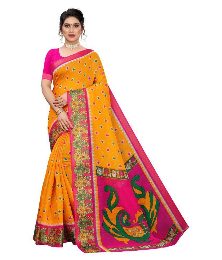 Anni Designer Yellow Linen Saree