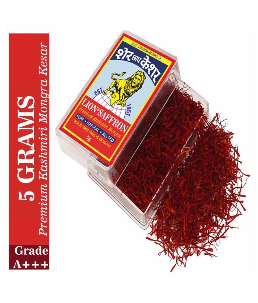 Lion Brand Grade A++ Kashmiri Mongra Kesar/Saffron 5g Grade A++ Kashmiri Mongra Saffron/Kesar 5 gm