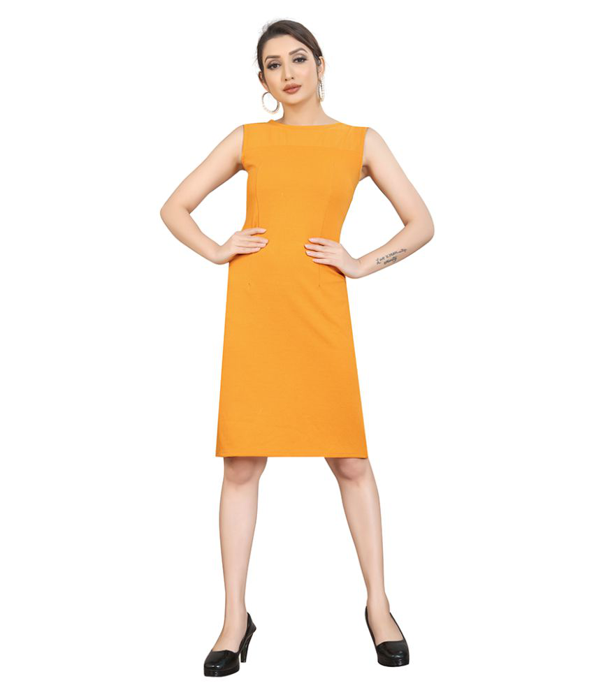 THE VINTAGE GARMENTS Cotton Lycra Yellow Fit And Flare Dress