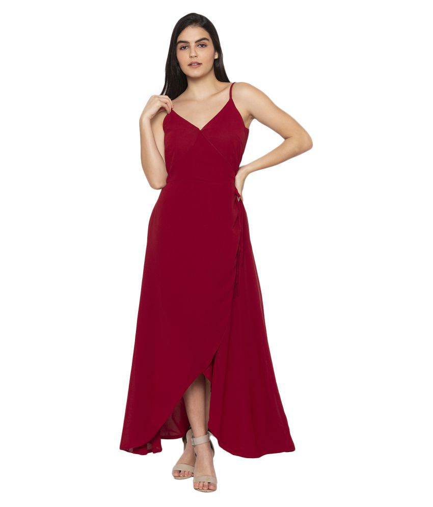 ITI Georgette Maroon Fit And Flare Dress