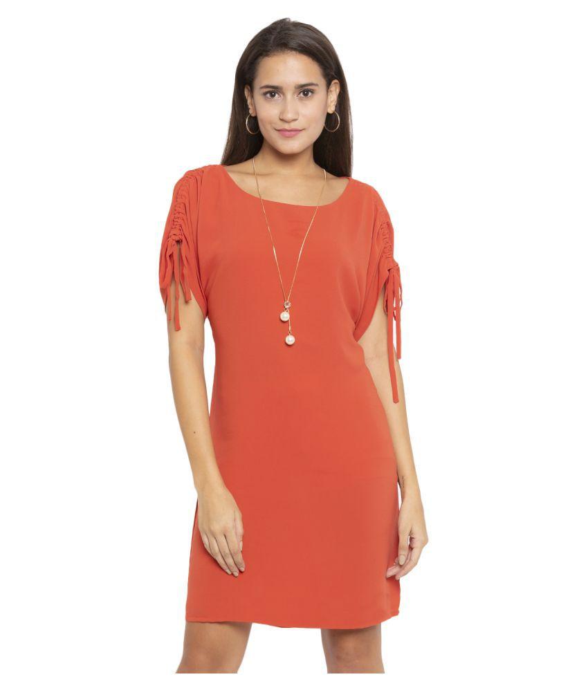 ITI Georgette Orange Shift Dress