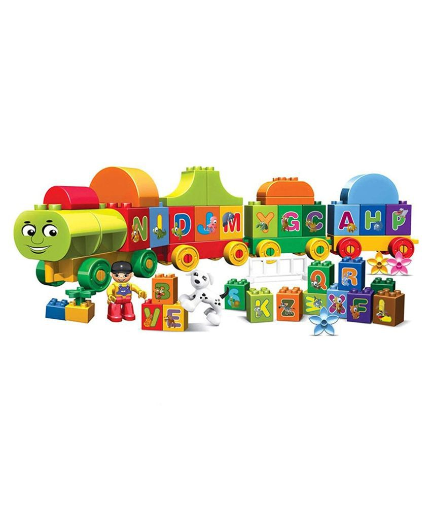 WISHKEY Alphabet Train Building Blocks Learning Letters, Words and Spelling Early Educational Block Game Play Set Toy for Kids 75 Pcs  Multicolor