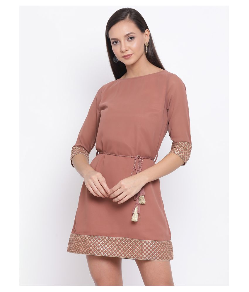 DRAAX Fashions Polyester Brown Fit And Flare Dress