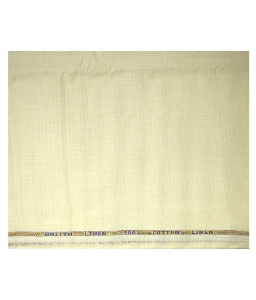 WEAVES EMPIRE Beige Linen Blended Unstitched Shirt pc