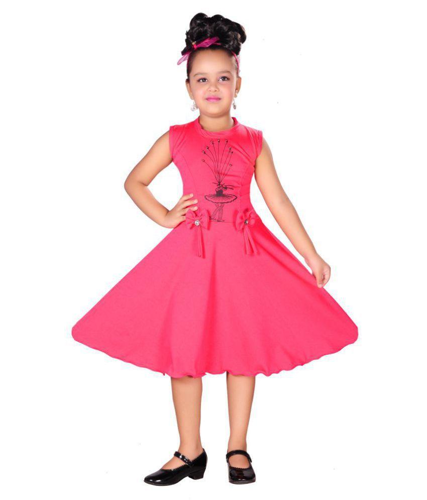 AD  amp; AV Girls Midi/Knee Length Casual Dress T461_FROCK_SILKY_PINK_AA