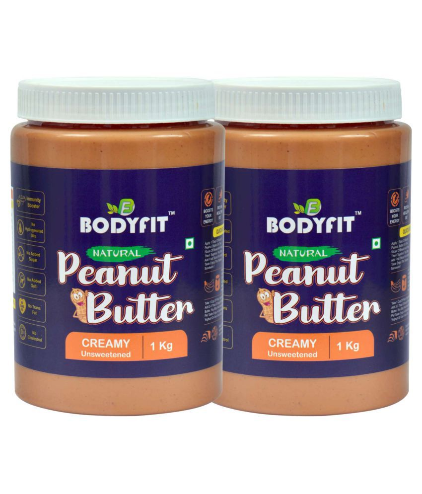 BODYFIT PEANUT BUTTER NATURAL 30%PROTEIN Butter Creamy 2 kg Pack of 2