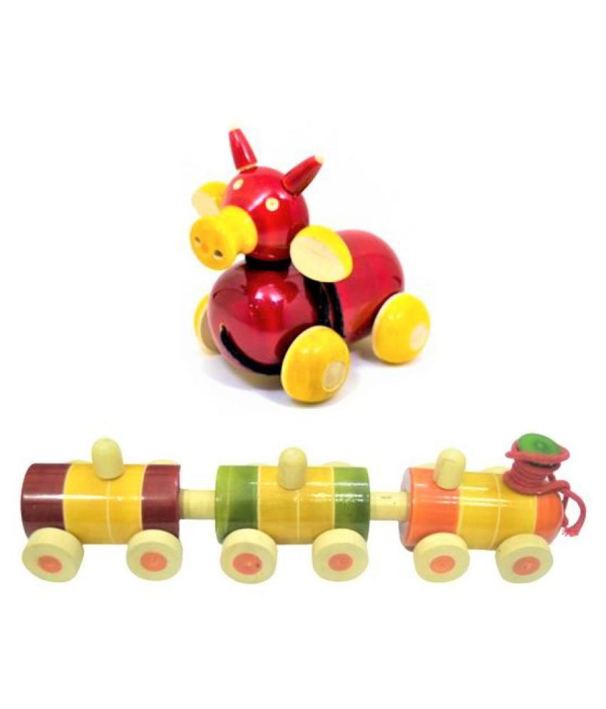 JNJ WudCraft Wooden Train pull along Vehicle toy and Bull Crafted Pull Along Animal   Combo Set of 2