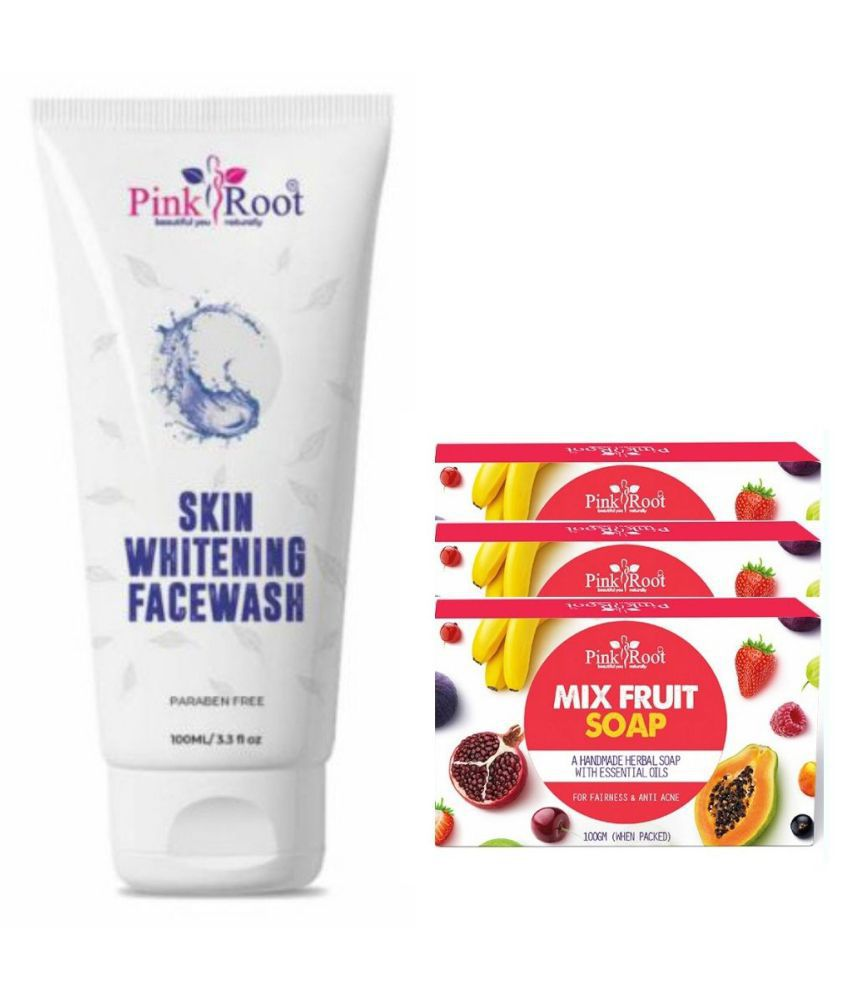 Pink Root Mix Fruit Soap 3Pcs With Skin Whitening Face Wash 100 mL Pack of 4