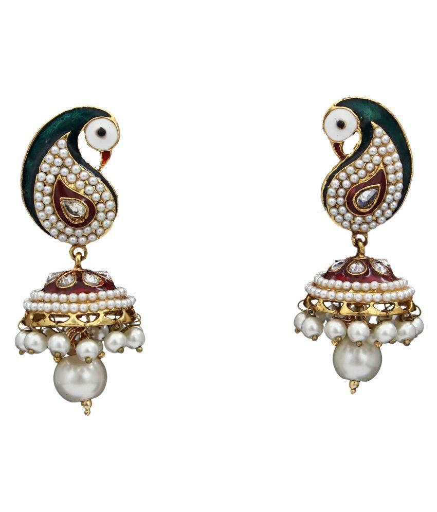 Jhumki Earrings Gold Plated Emerald, Ruby Studded Emerald, Ruby Sparkling Pearl Jhumki Earrings Gold Plated Emerald, Ruby Studded for Women Girls Sparkling Pearl