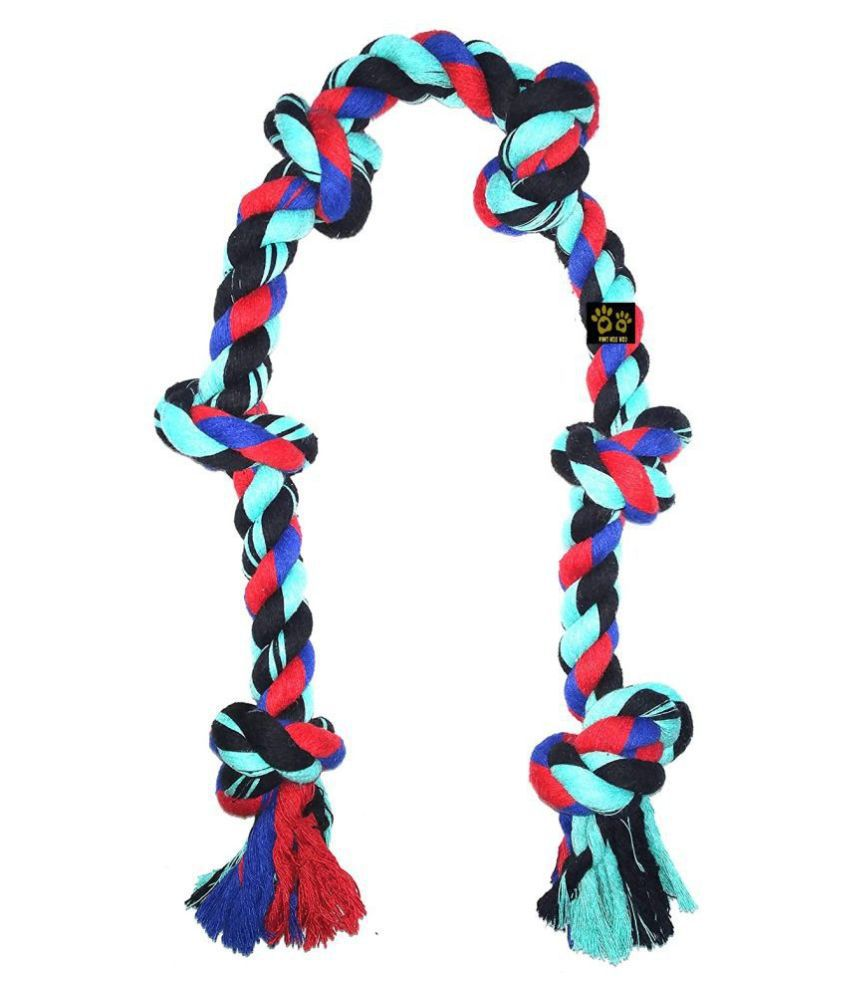 KOKIWOOWOO 6 Knots Cotton Rope Dog Chew Toy 30 Inch Long