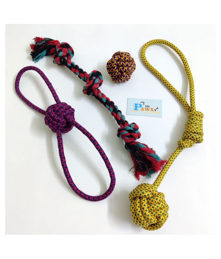 THE PAWXI COTTON ROPE DOG TOYS FOR PET FOR TRAINING, TEETH CLEANING, PLAYING AND FETCH TOY (COLOUR-ASSORTED)