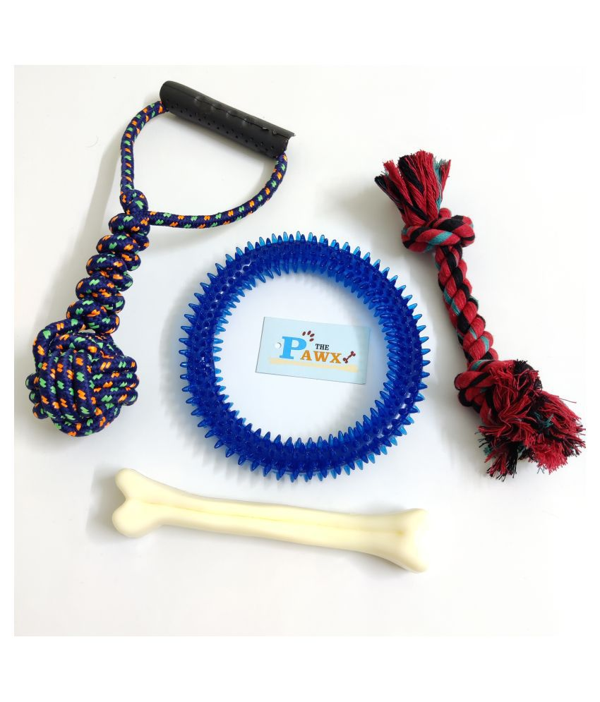 THE PAWXI COTTON ROPE DOG TOY FOR PET, SPIKE RING FOR DOG AND 7 INCH PLASTIC BONE TEETH CLEANING, PLAYING AND FETCH TOY (COLOUR-ASSORTED, Model NO-SNE1436)