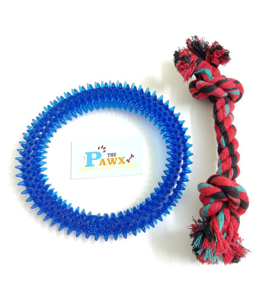 THE PAWXI Combo of Dog Toy for Pets, Dog Spike RING Toy and Dog 2 Knot Cotton Rope Chewing Toy and Playing Toy (Combo of 2, Color- Assorted, Model NO-SNE1425)