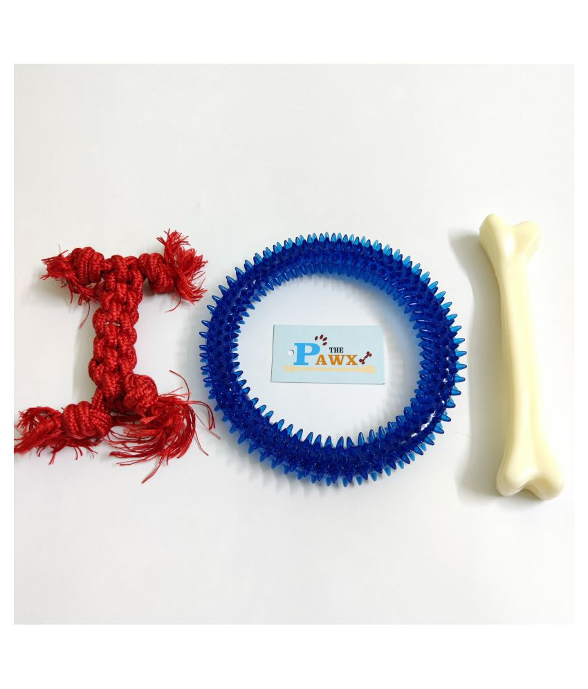 THE PAWXI RUBBER SPIKE RING DOG TOY, 7 INCH PLASTIC BONE FOR PET AND 1 COTTON ROPE TOYS FOR DOG TEETH CLEANING, PLAYING AND FETCH TOY (COLOUR-ASSORTED)