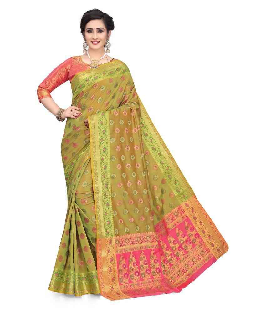 Taboody Empire Green Banarasi Silk Saree - Single