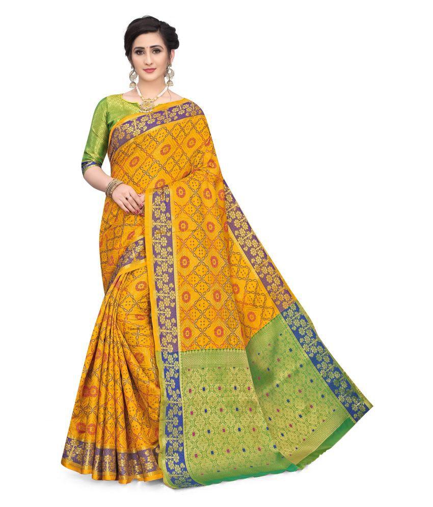 Taboody Empire Yellow Banarasi Silk Saree - Single