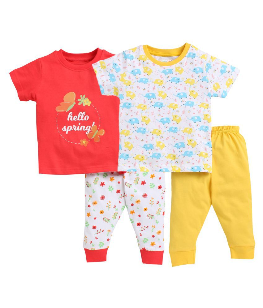 Bumzee Yellow & Red Half Sleeves Unisex Baby T-Shirt & Joggers Pack of 2 Age - 12-18 Months