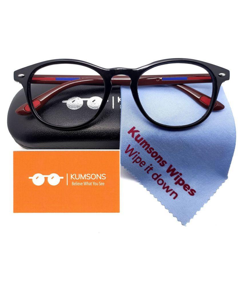 Unisex Blue Cut & Anti-glare Computer Glasses | For Computer Mobile TV | Eye Protection | Zero Power | Brand - kumsons