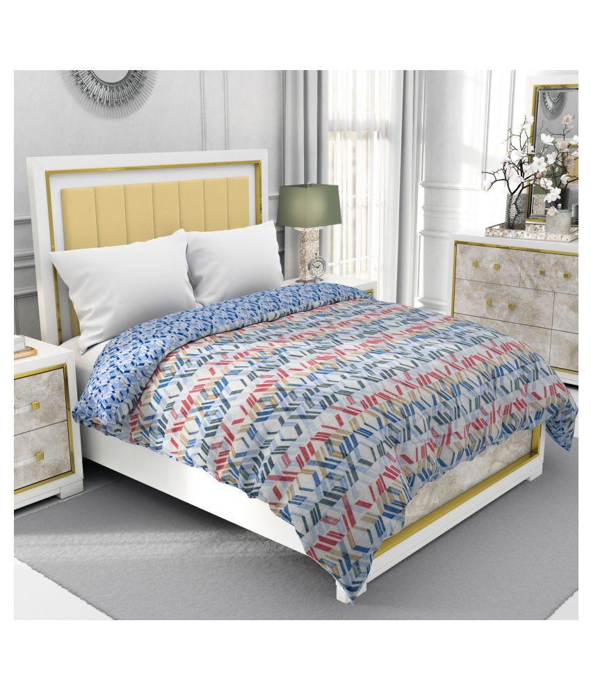 BE WANGLE Single Cotton Blue Printed Dohar