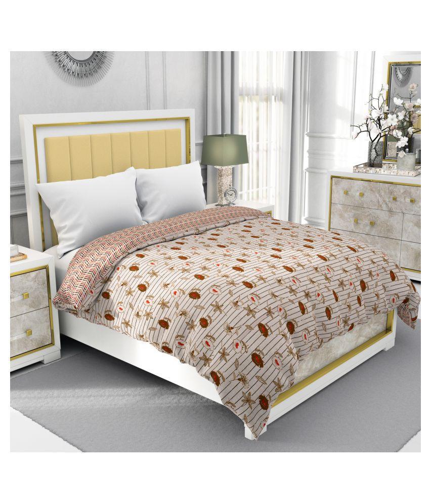 BE WANGLE Single Cotton Brown Floral Dohar