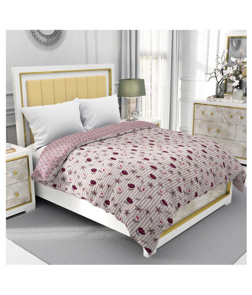 BE WANGLE Single Cotton Purple Floral Dohar
