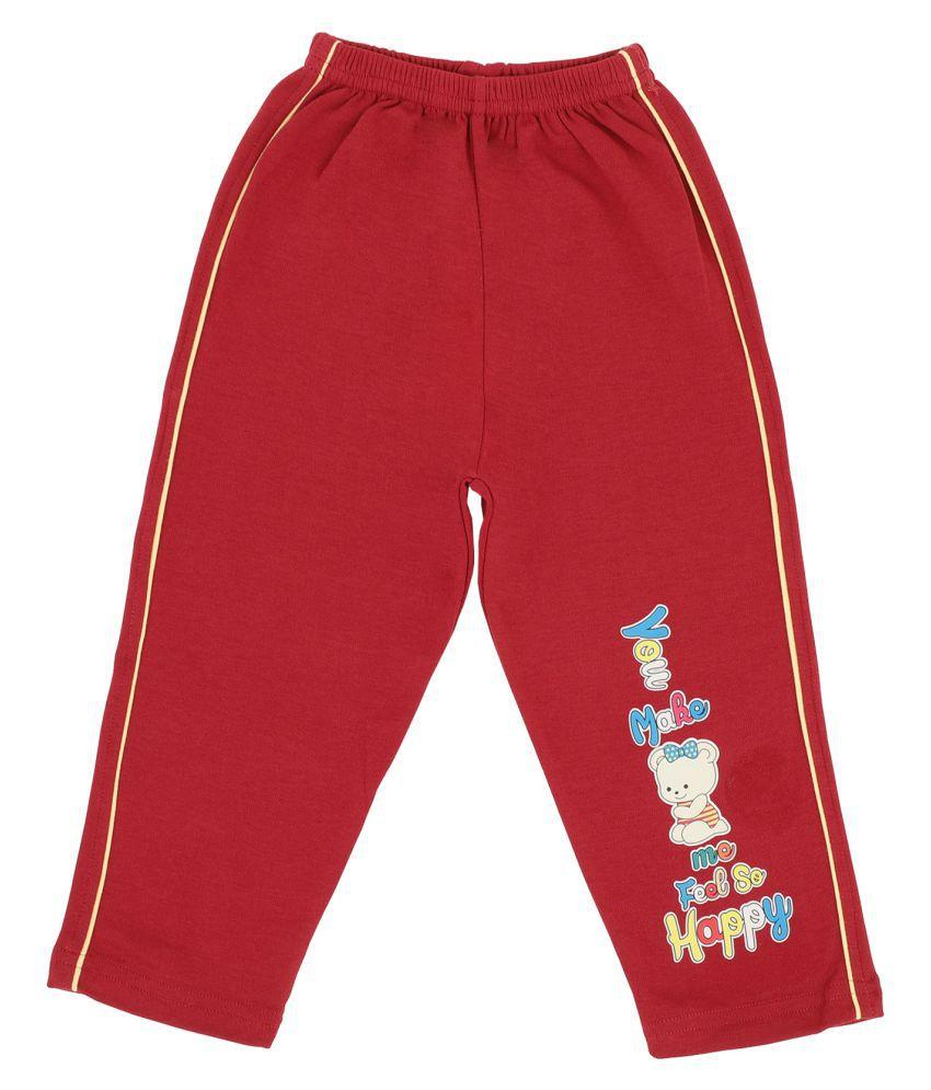 Bodycare Kids Infant Girls Maroon Printed Track Pant