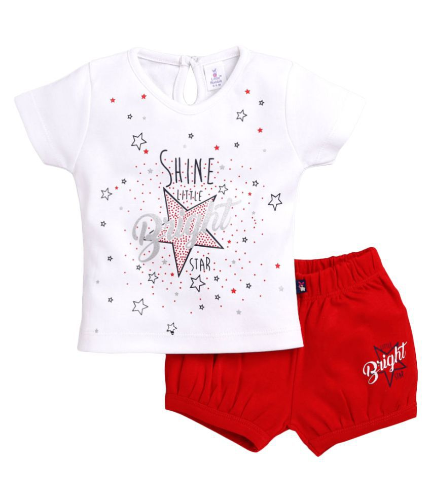 Hopscotch Baby Girls Cotton and Polyester Short Sleeves Short Set in White Color For Ages 0-3 Months (LRB-3368527)