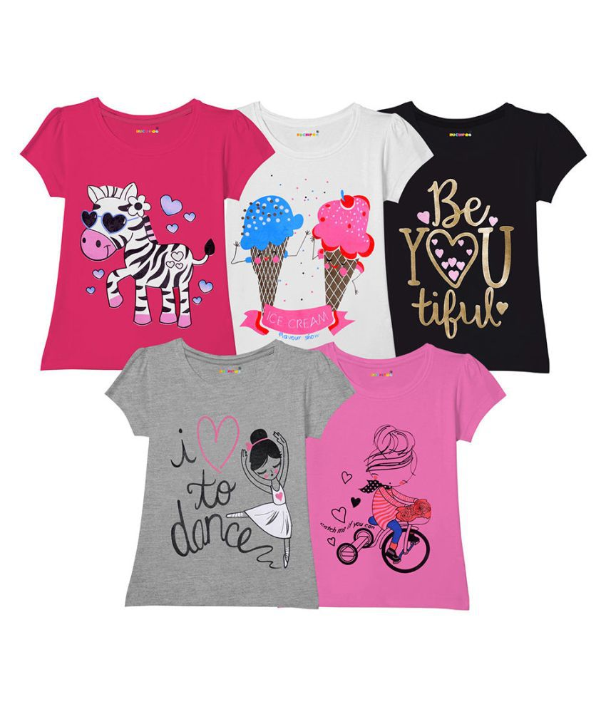 Hopscotch Girls Cotton Short Sleeves Blend Combo Of 5 T-Shirts in Multi Color For Ages 3-4 Years (KUH-3533784)