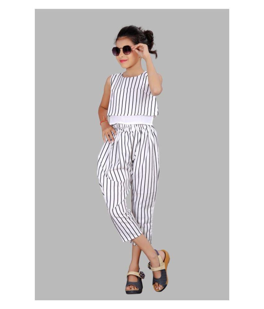 Siddhi Fashion   Girls Calf Length Party Dress  White, Sleeveless