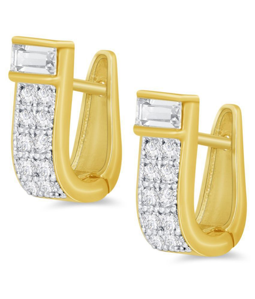 Spargz Brilliant Brass Two Tone Plated CZ Stone Huggie Earring For Women OER_5233