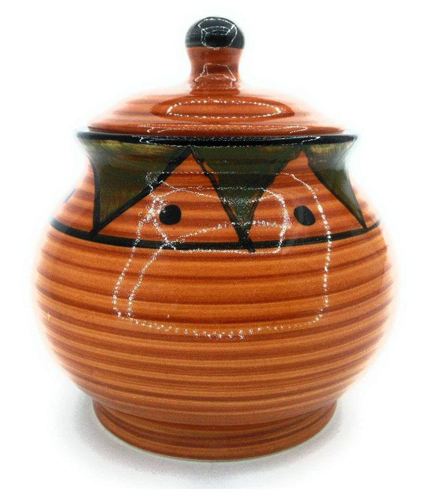 Asha @ Store Container Brown Ceramic Pickle Container Set of 1 400 mL