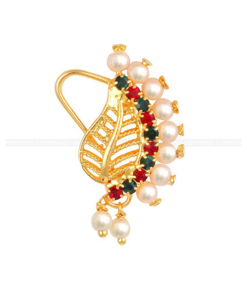 Vighnaharta Gold Plated Mayur design with Pearls AD Stone Alloy Maharashtrian Nath Nathiya./ Nose Pin for women VFJ1016NTH-TAR
