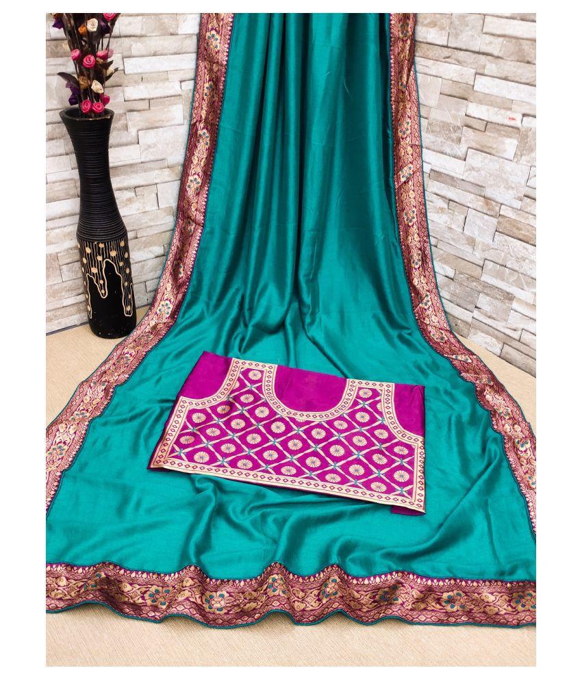 Lyzoo Light Green Vichitra Silk Saree - Single