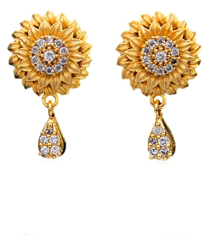 55Carat Drop Earrings 14K Gold Plated Solitaire Studded Floral Traditional Stylish Fashion Jewellery Drop Earrings,14K Gold Plated,Solitaire,Studded Floral Traditional Stylish Fashion Jewellery MRT-14