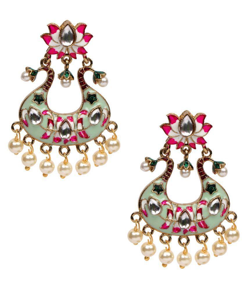 Adorn Gold Plated Meenakari Chandbali Kundan Earring For Women Zinc Drops & Danglers, Chandbali Earring