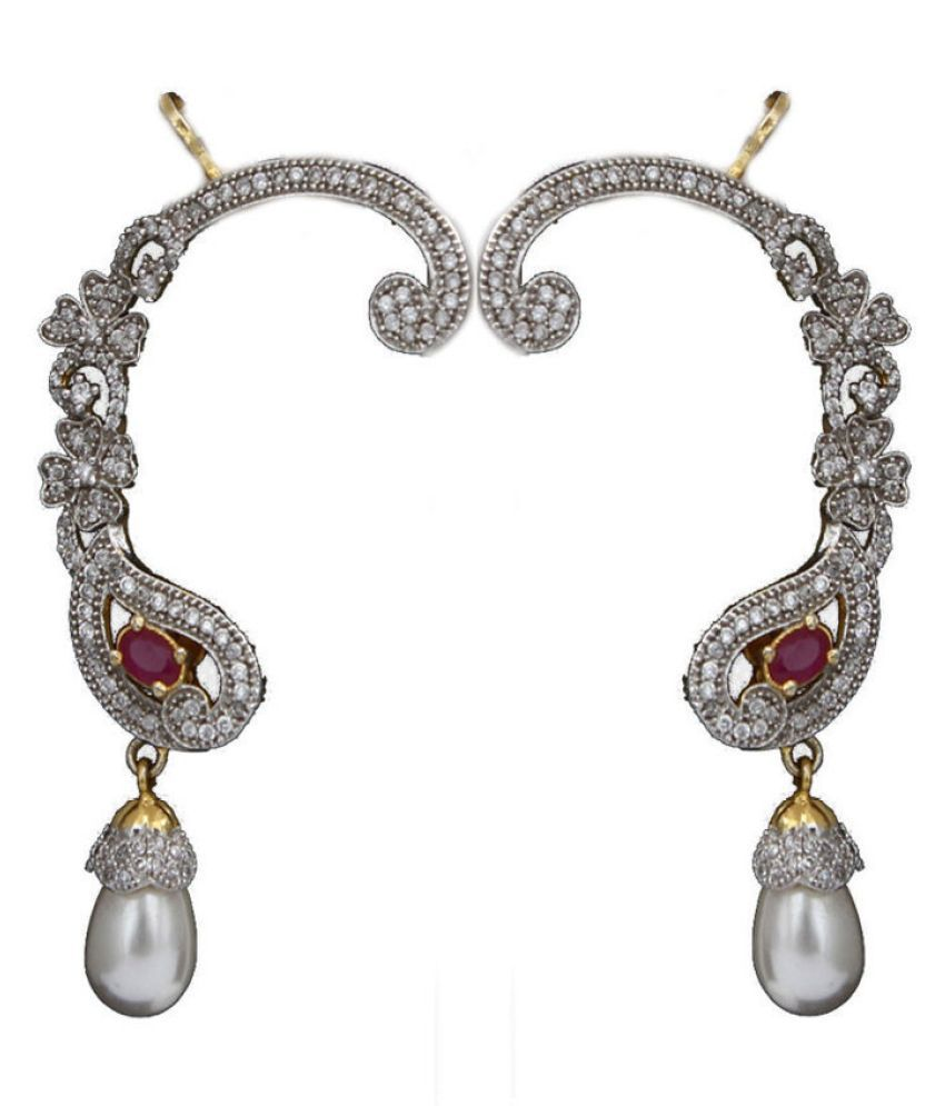 CaratYogi Modern Ear Cuffs Red Ruby CZ 14K Gold Plated Intricately Studded with Oval Red Ruby Cubic Zircon Pear Floral Style with SIngle Pearl Drop Earrings Jewellery for Women and Girls