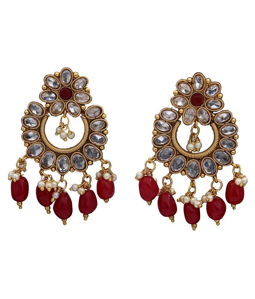 Dangle Hanging Jhumki Earrings 18K Gold Plated Emerald, Pearl Drop Emerald, Pearl Drop Dazzling Dangle Hanging Jhumki Earrings 18K Gold Plated Emerald, Pearl Drop for Women Girls Ladies Dazzling
