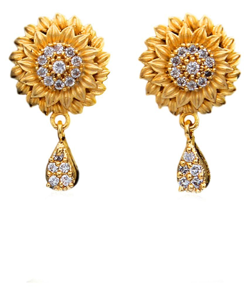 Gemsonclick Drop Earrings 14K Gold Plated Solitaire Studded Floral Traditional Stylish Fashion Jewellery Drop Earrings,14K Gold Plated,Solitaire,Studded Floral Traditional Stylish Fashion Jewellery MRT-14