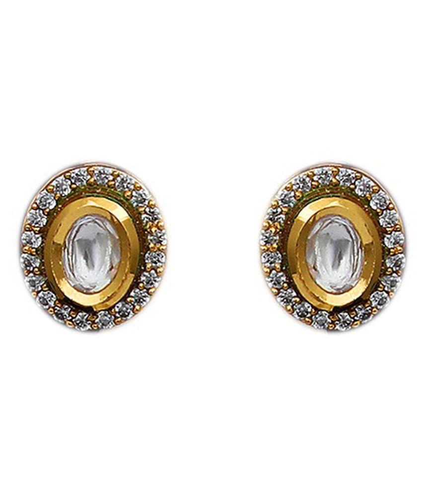 Gemsonclick Latest Design Stud Earrings Gold Plated Oval Shape Kundan Cubic Zircon Studded Latest Design Casual Fashion Jewellery for Women Girls Ladies