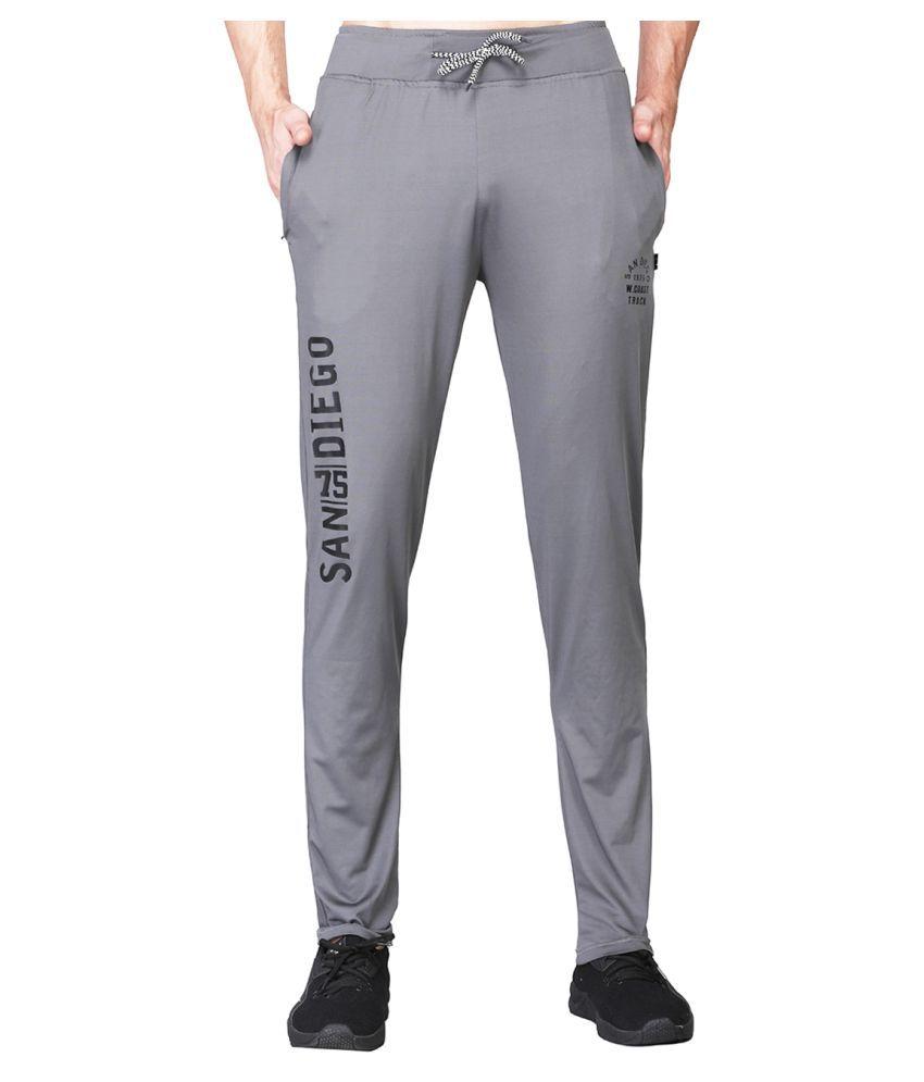 White Moon Dryfit Lycra polyester Grey Trackpants For Men
