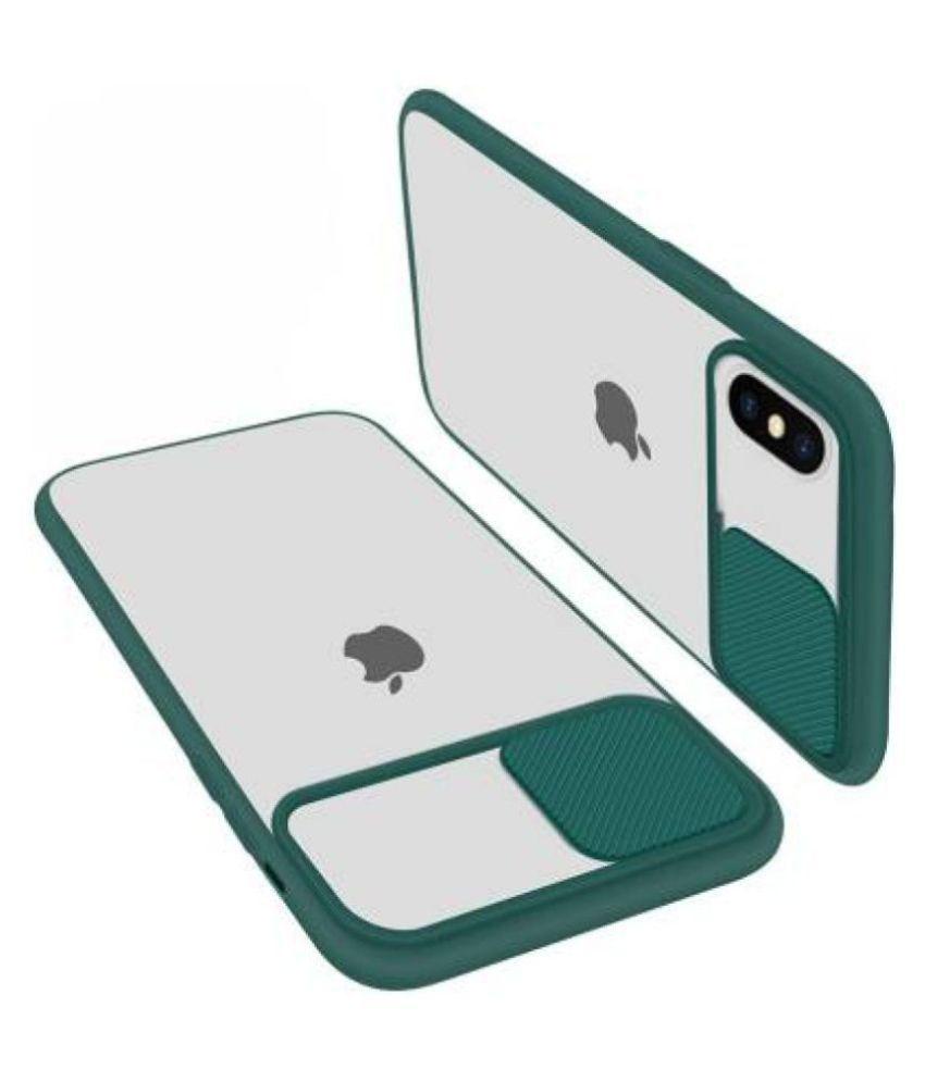 Apple iPhone X Glass Cover Shining Stars   Green Hybrid Shutter Back Cover