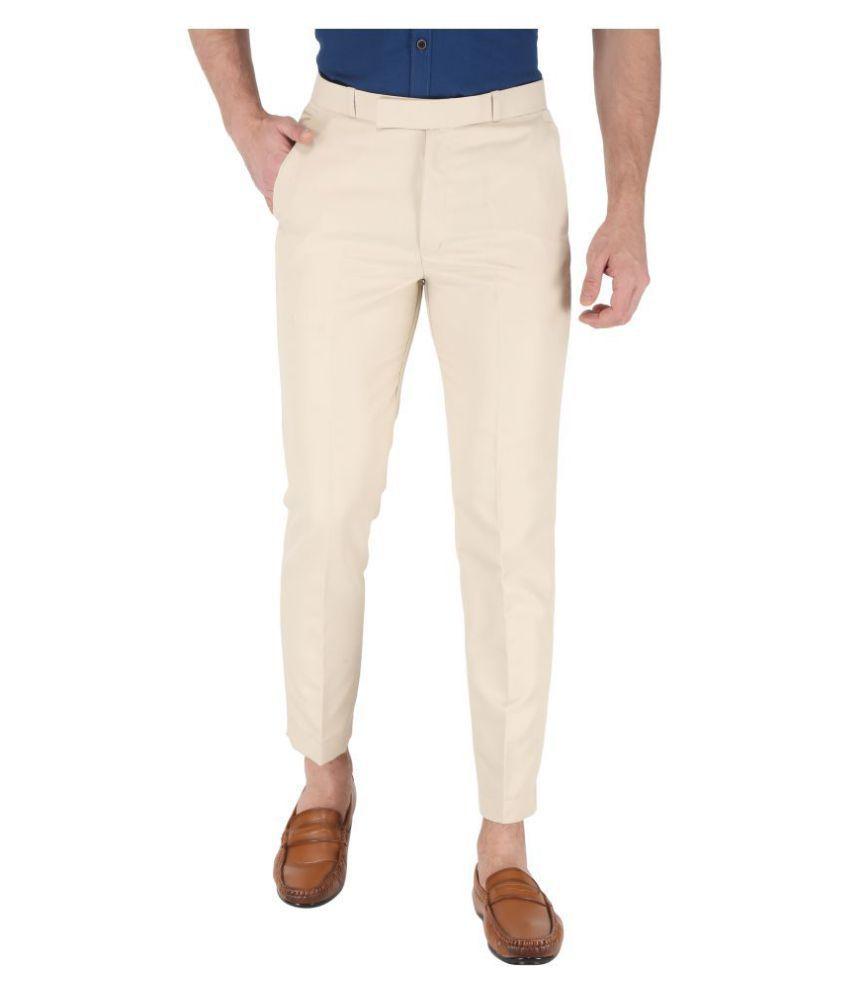 K.S.BRAND Off White Regular -Fit Flat Trousers Single