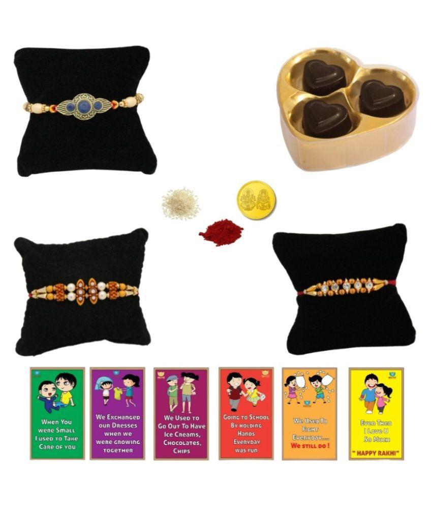 BOGATCHI Assorted Box Rakhi for Brother Rakhi & Chocolate 200 gm